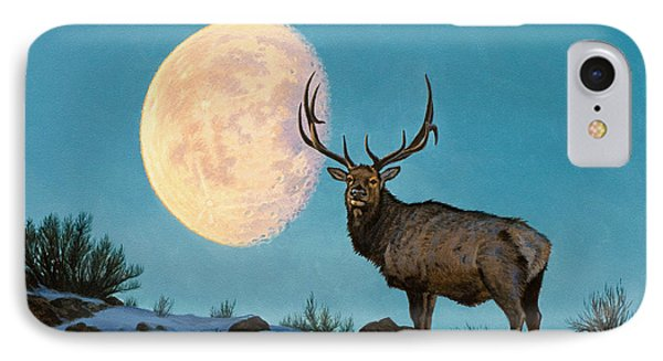 Setting Moon And Elk IPhone Case by Paul Krapf