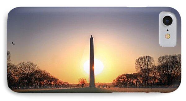 Setting Sun On Washington Monument IPhone Case by Shelley Neff