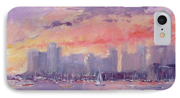 Setting Sun Over Boston  IPhone Case by Laura Lee Zanghetti