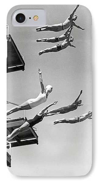 Seven Champion Diving In La IPhone Case by Underwood Archives