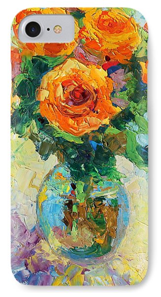 IPhone Case featuring the painting Seven Yellow Roses In Glass Vase Oil Painting by Thomas Bertram POOLE