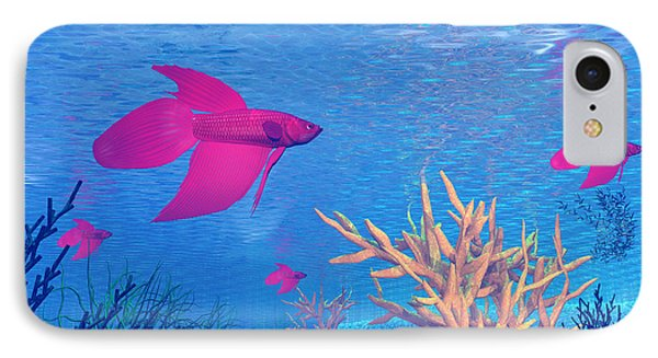 Several Red Betta Fish Swimming IPhone Case