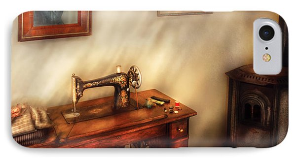 Sewing Machine - Sewing In A Cozy Room  Phone Case by Mike Savad