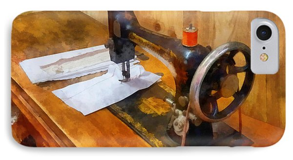 Sewing Machine With Orange Thread Phone Case by Susan Savad