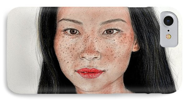 Sexy Freckle Faced Beauty Lucy Liu Phone Case by Jim Fitzpatrick