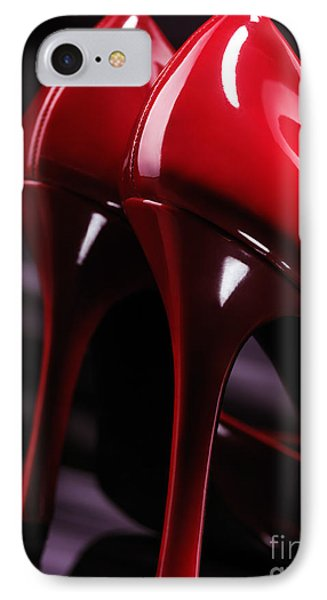 Sexy Red High Heel Shoes Closeup Phone Case by Oleksiy Maksymenko