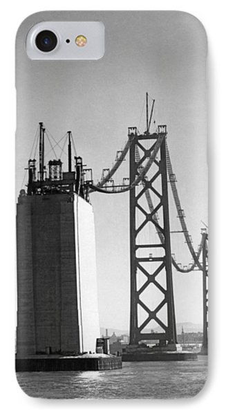 Sf Bay Bridge Construction IPhone Case by Charles Hiller