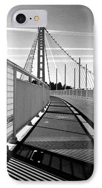 Sf Bay Bridge Pedestrian Path In Bw IPhone Case