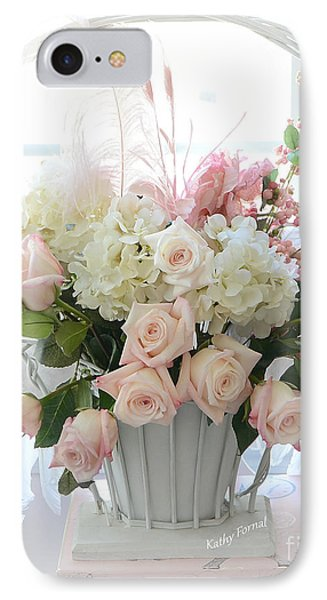 Shabby Chic Basket Of White Hydrangeas - Pink Roses - Dreamy Shabby Chic Floral Basket Of Roses IPhone Case by Kathy Fornal