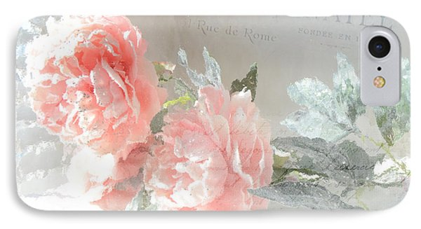 Shabby Chic Dreamy Cottage Chic Impressionistic Romantic Peach Roses Floral Art IPhone Case by Kathy Fornal