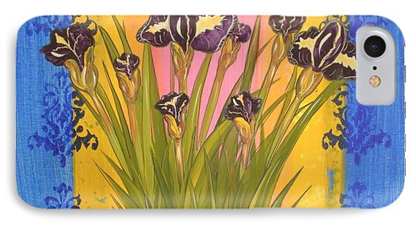 IPhone Case featuring the painting Shabby Chic Iris by Cindy Micklos