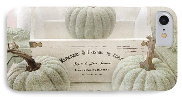 Shabby Chic Pastel White Vintage French Basket Of Pumpkins IPhone Case by Kathy Fornal