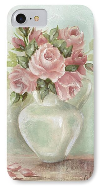 Shabby Chic Pink Roses Painting On Aqua Background IPhone Case by Chris Hobel