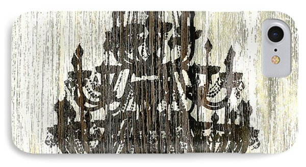 Shabby Chic Rustic Black Chandelier On White Washed Wood IPhone Case