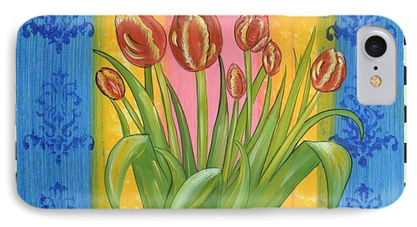 IPhone Case featuring the painting Shabby Chic Tulips by Cindy Micklos