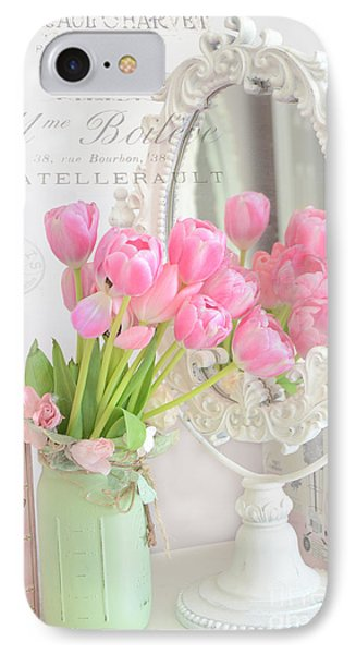 Shabby Chic Tulips Reflection In Mirror - Dreamy Romantic Cottage Pink Tulips Floral Art IPhone Case by Kathy Fornal