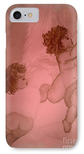 Shabby Pink Cherubs Trailing IPhone Case