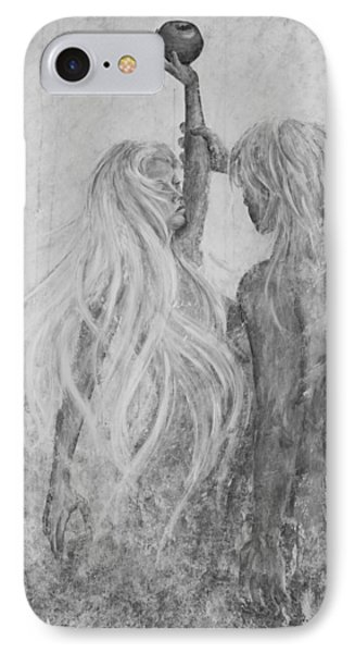 IPhone Case featuring the painting Shades Of Gray - Adam And Eve by Nik Helbig