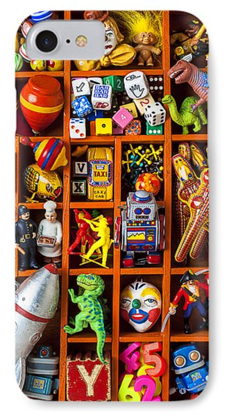 Shadow Box Full Of Toys Phone Case by Garry Gay