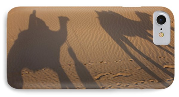 Shadows Of A Camel Train, Thar Desert IPhone Case by Peter Adams