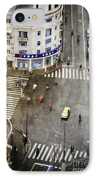 Shanghai China Big City Urban Scene From Above Phone Case by Jani Bryson