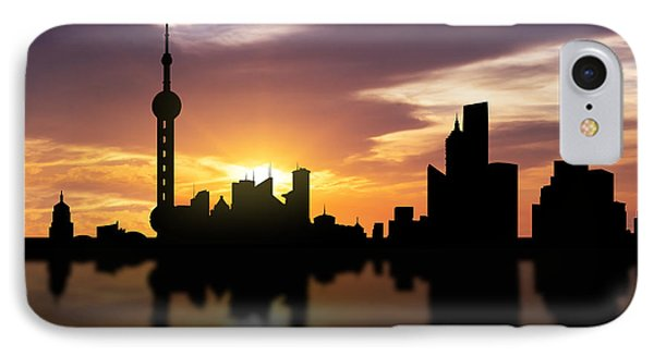 Shanghai China Sunset Skyline  IPhone Case by Aged Pixel