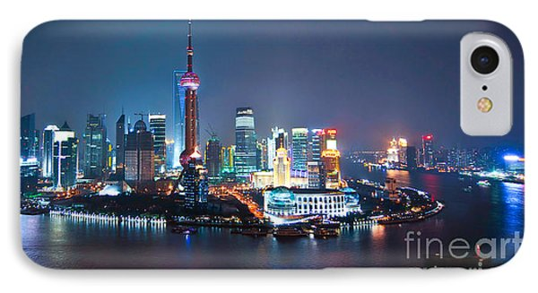 Shanghai iPhone 7 Case - Shanghai Panorama by Delphimages Photo Creations