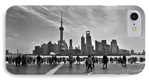Shanghai iPhone 7 Case - Shanghai Skyline Black And White by Delphimages Photo Creations