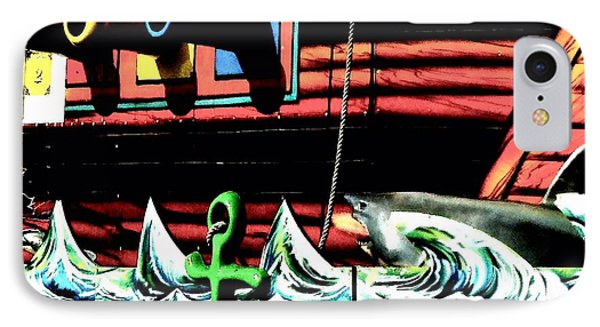Shark And Pirate Ship Pop Art Posterized Photo IPhone Case