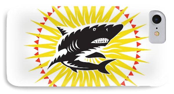 Shark Swimming Up Sunburst Woodcut Phone Case by Aloysius Patrimonio