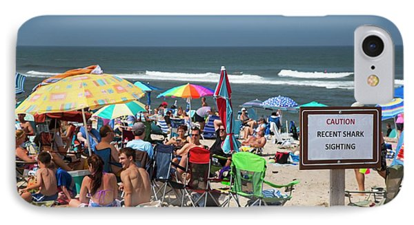 Shark Warning On A Beach IPhone Case by Jim West