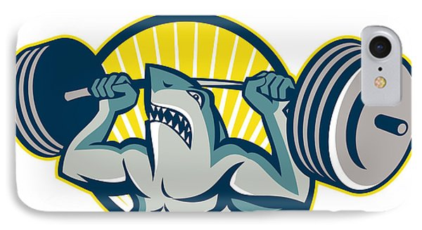 Shark Weightlifter Lifting Barbell Mascot Phone Case by Aloysius Patrimonio