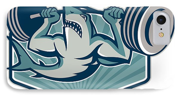 Shark Weightlifter Lifting Weights Mascot Phone Case by Aloysius Patrimonio