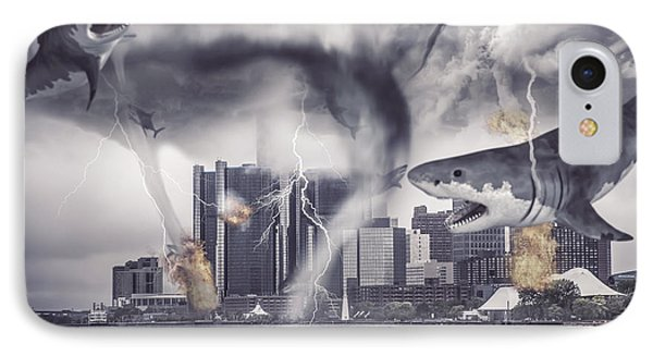 IPhone Case featuring the photograph Sharknado Detroit by Nicholas  Grunas