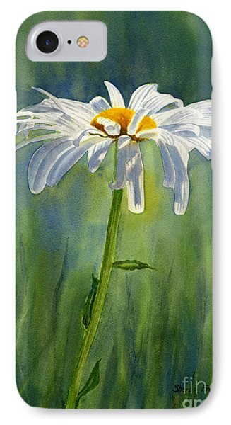 Shasta Daisy Flower With Blue Green Background Phone Case by Sharon Freeman