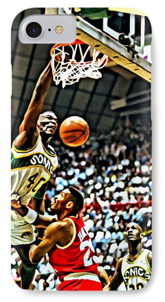 Shawn Kemp Painting IPhone Case by Florian Rodarte