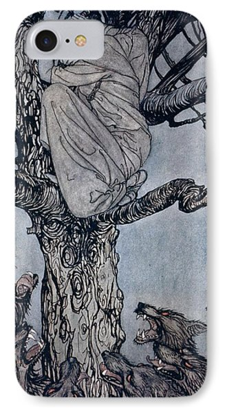She Looked With Angry Woe At The Straining And Snarling Horde Below Illustration From Irish Fairy  IPhone Case by Arthur Rackham