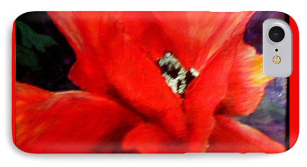 IPhone Case featuring the painting She Wore Red Ruffles by Gail Kirtz