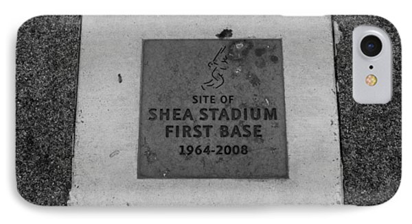 Shea Stadium First Base In Black And White Phone Case by Rob Hans