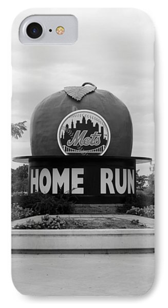 Shea Stadium Home Run Apple In Black And White IPhone Case by Rob Hans