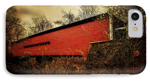 Sheeder Hall Covered Bridge 2 IPhone Case by Judy Wolinsky