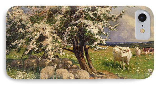 Sheep And Cattle In A Landscape IPhone Case by Arthur Walker Redgate