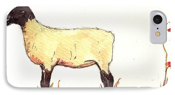 Sheep Black White IPhone Case by Juan  Bosco