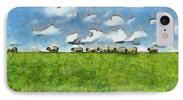 Sheep Herd IPhone Case by Ayse Deniz