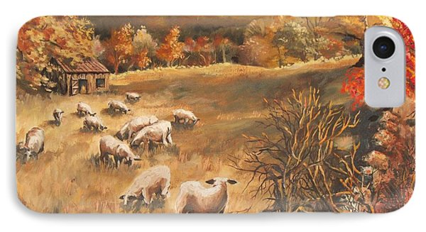 Sheep In October's Field Phone Case by Joy Nichols