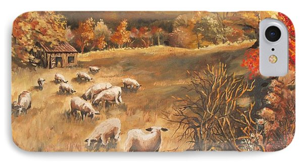 IPhone Case featuring the painting Sheep In October's Field by Joy Nichols