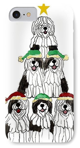 Sheepdog Christmas Tree IPhone Case