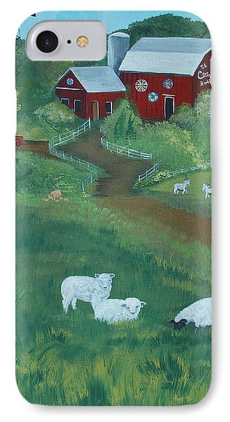Sheeps In The Meadow IPhone Case by Virginia Coyle