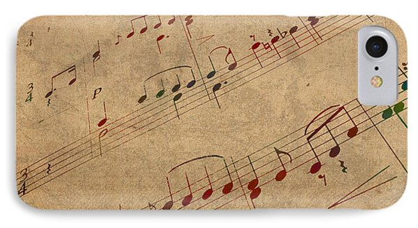 Sheet Music Watercolor Portrait On Worn Distressed Canvas IPhone Case