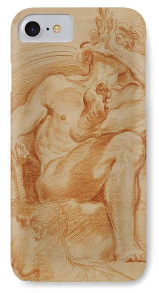 Sheet Of Studies A Seated Nude Man, A Youthful Head IPhone Case by Litz Collection